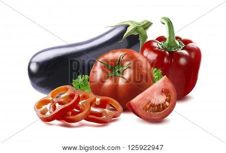Eggplant red bell pepper slices tomato ratatouille country dish ingfedients isolated on white background as package design element