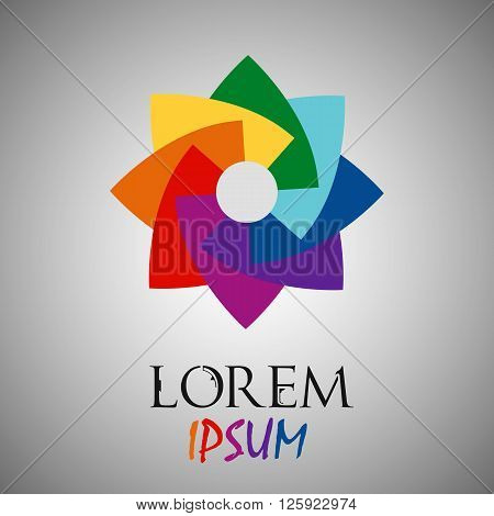 Abstract Rainbow Flower Geometric Logo Template. Business Abstract Icon. Use For Logo, Sign, Symbol,