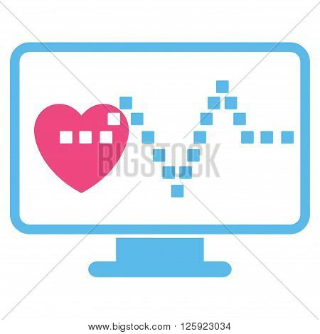 Cardio Monitoring vector toolbar icon. Style is bicolor flat icon symbol, pink and blue colors, white background, square dots.