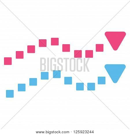 Dotted Trend Lines vector toolbar icon. Style is bicolor flat icon symbol, pink and blue colors, white background, square dots.