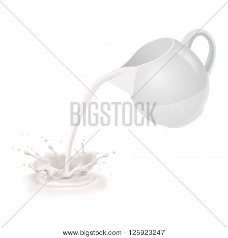 Milk being poured from a white jug.