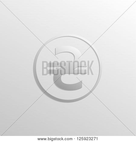 Hryvnia icon with gradients and shadows. Vector illustration