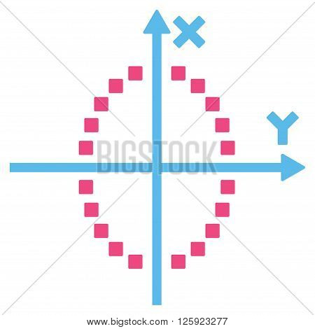 Ellipse Plot vector toolbar icon. Style is bicolor flat icon symbol, pink and blue colors, white background, square dots.