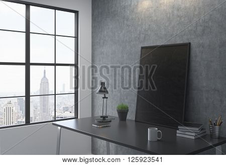 Sideview of workplace with black picture frame in interior with New York city view. Mock up 3D Rendering