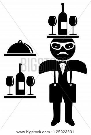 Hipster man. Bow tie. Waiter isolated on white background