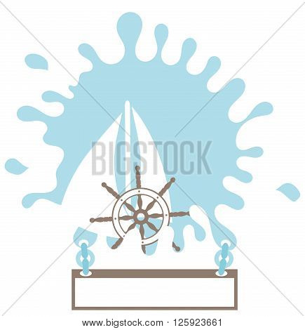 Sailboat splash rudder. Design element for your text. Isolated