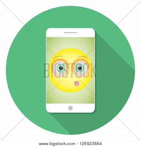 White Smartphone with long shadow with a picture of a smiley with a embarrassed emotion