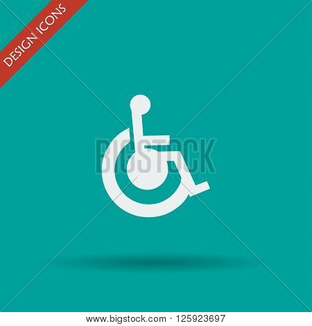 cripple Flat Simple Icon isolated. Flat design style