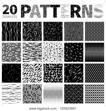 Set of 20 various abstract vector seamless patterns. There are all textures in Swatches panel. Isolated on white background. Clipping paths included.