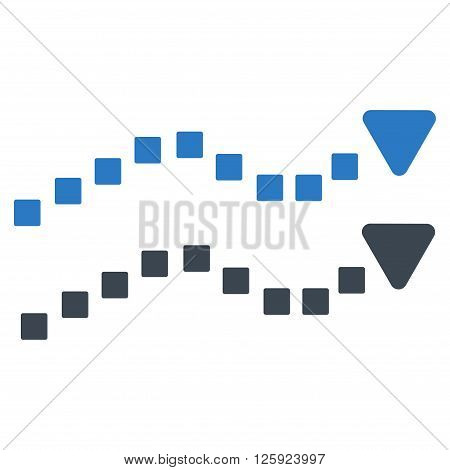 Dotted Trend Lines vector toolbar icon. Style is bicolor flat icon symbol, smooth blue colors, white background, square dots.