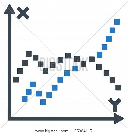 Functions Plot vector toolbar icon. Style is bicolor flat icon symbol, smooth blue colors, white background, square dots.