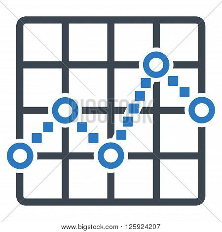Line Plot vector toolbar icon. Style is bicolor flat icon symbol, smooth blue colors, white background, square dots.