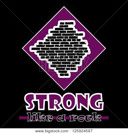 Strong Like A Rock. Abstract Vector Violet Style Flat Logo Print Brick Wall Design. Used For Print O