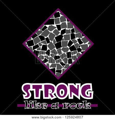 Strong Like A Rock. Abstract Vector Purple Style Flat Logo Print Tiles Design. Used For Print On T-s