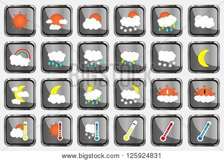 Set Of 24 Vector Weather Realistic Metallic Chrome Flat Square Icons On White Background. Vector Ill