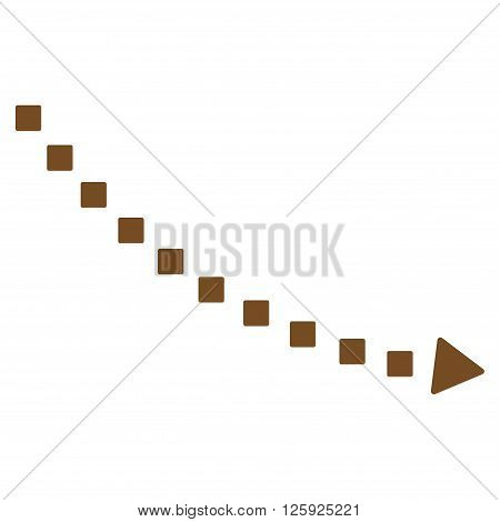 Dotted Decline Trend vector toolbar icon. Style is flat icon symbol, brown color, white background, square dots.