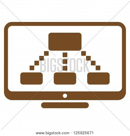 Hierarchy Monitor vector toolbar icon. Style is flat icon symbol, brown color, white background, square dots.