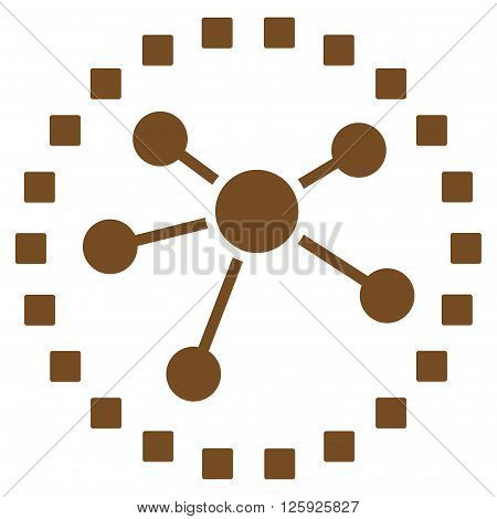 Links Diagram vector toolbar icon. Style is flat icon symbol, brown color, white background, square dots.