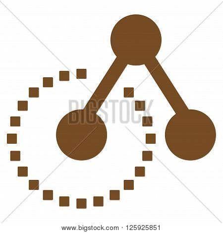 Molecule Structure vector toolbar icon. Style is flat icon symbol, brown color, white background, square dots.