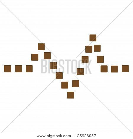 Pulse Chart vector toolbar icon. Style is flat icon symbol, brown color, white background, square dots.