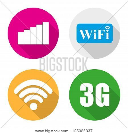 Icons Wi fi 3g and access to the Internet in a flat design