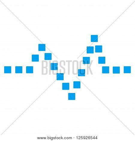 Pulse Chart vector toolbar icon. Style is flat icon symbol, blue color, white background, square dots.