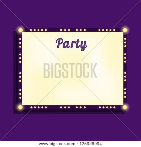 Marquee billboard advertising border bulbs. Illuminated blank panel for text. Glowing marquee billboard to advertise show. Marquee banner border for cafe show cinema. Vector Illustration