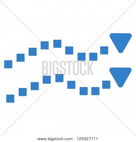 Dotted Trend Lines vector toolbar icon. Style is flat icon symbol, cobalt color, white background, square dots.