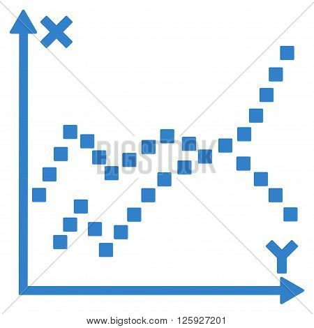Functions Plot vector toolbar icon. Style is flat icon symbol, cobalt color, white background, square dots.