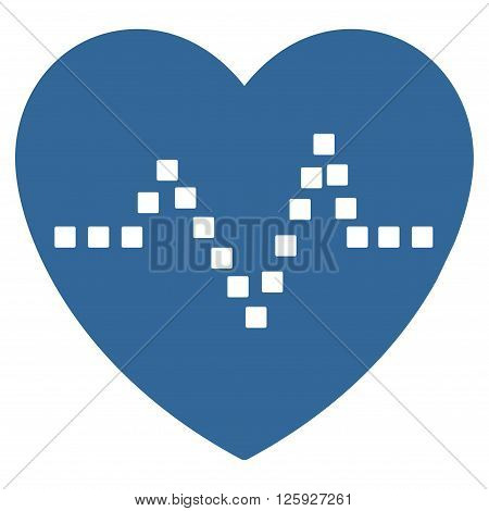 Heart Pulse vector toolbar icon. Style is flat icon symbol, cobalt color, white background, square dots.