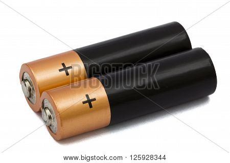 Two AA battery isolated on white with clipping path