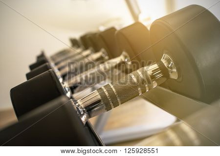 Close up row of dumbbells in modern sports club with soft light