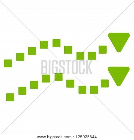 Dotted Trend Lines vector toolbar icon. Style is flat icon symbol, eco green color, white background, square dots.