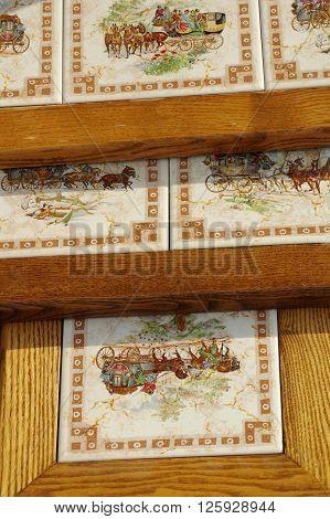Furniture ceramics tiles decorative tables detail objects.