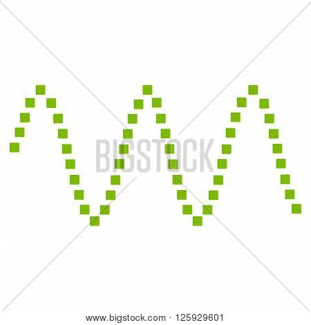 Sinusoid Waves vector toolbar icon. Style is flat icon symbol, eco green color, white background, square dots.