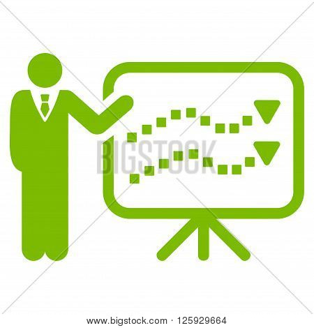 Trends Lecture vector toolbar icon. Style is flat icon symbol, eco green color, white background, square dots.