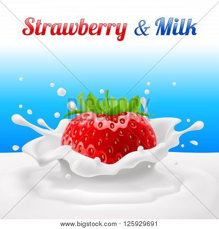 Strawberries dipped in milk with splashes. Drop and sweet food and fresh and liquid