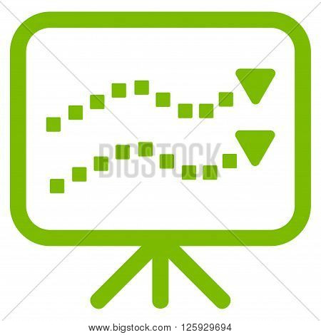 Trends Presentation vector toolbar icon. Style is flat icon symbol, eco green color, white background, square dots.