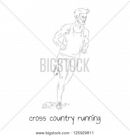 Cross country running hand drawn sketchy vector illustraion