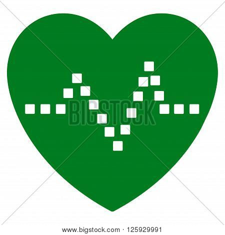 Heart Pulse vector toolbar icon. Style is flat icon symbol, green color, white background, square dots.