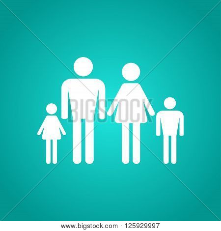 Family icon in white. Four people. Vector illustration