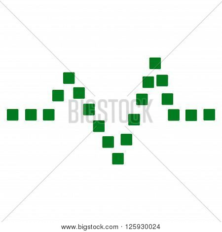 Pulse Chart vector toolbar icon. Style is flat icon symbol, green color, white background, square dots.