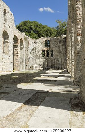 Nave and apse of early Christian basilica ruins at archeological site of Butrint South Albania
