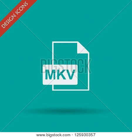 mkv file icon. Flat design style eps 10