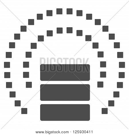 Database Sphere Shield vector toolbar icon. Style is flat icon symbol, gray color, white background, square dots.