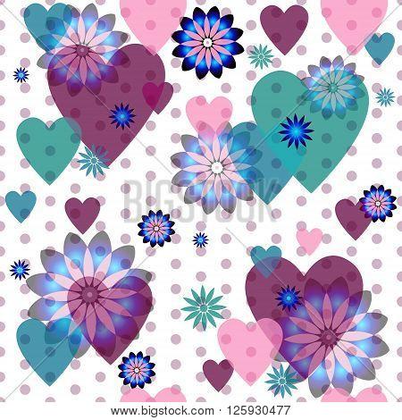 Seamless valentine spotty pattern with translucent hearts