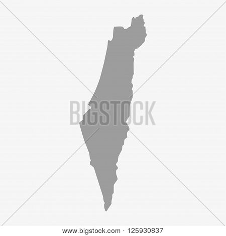 Map Of Israel In Gray On A White Background