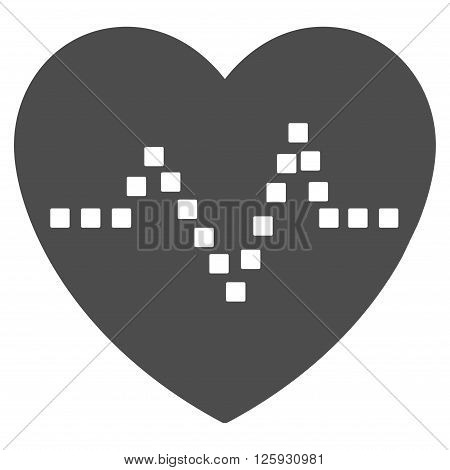 Heart Pulse vector toolbar icon. Style is flat icon symbol, gray color, white background, square dots.