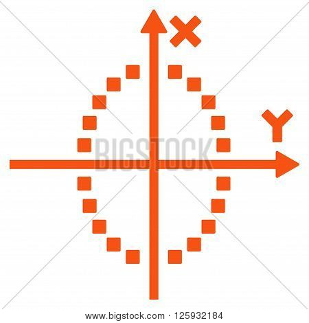Ellipse Plot vector toolbar icon. Style is flat icon symbol, orange color, white background, square dots.