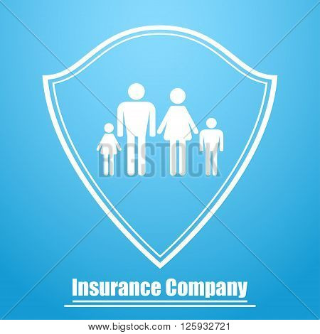 Logo of the insurance company in the form of a shield with the image of the family